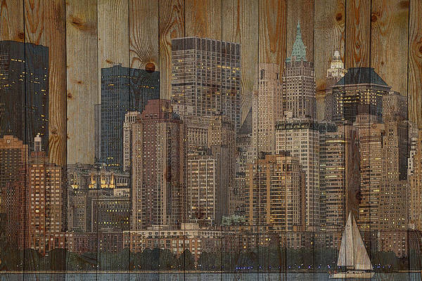 Digital Art - Skyline Of New York, Usa On Wood by Alex Mir