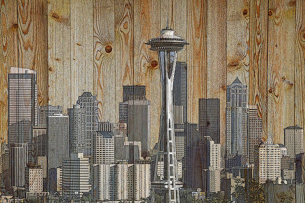 Digital Art - Skyline Of Seattle, Usa On Wood by Alex Mir