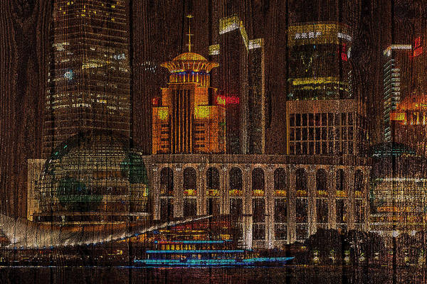 Digital Art - Skyline Of Shanghai, China On Wood by Alex Mir