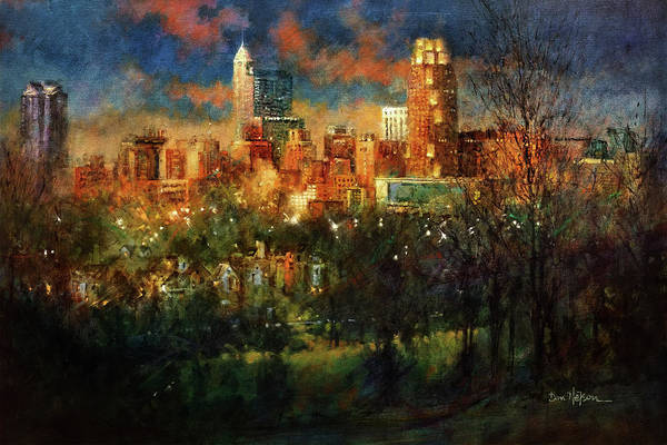 Wall Art - Painting - Skyline Twilight by Dan Nelson