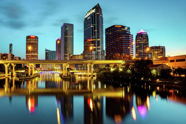 Wall Art - Photograph - Skyline View Of Tampa Florida At Dawn by Gregory Ballos