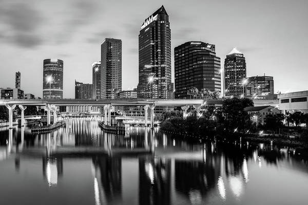 Photograph - Skyline View Of Tampa Florida In Black And White by Gregory Ballos