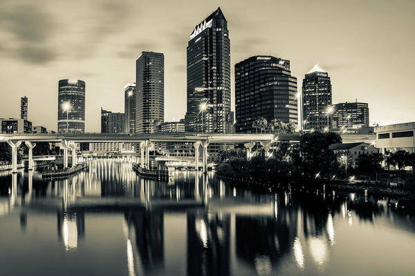 Photograph - Skyline View Of Tampa Florida In Sepia by Gregory Ballos