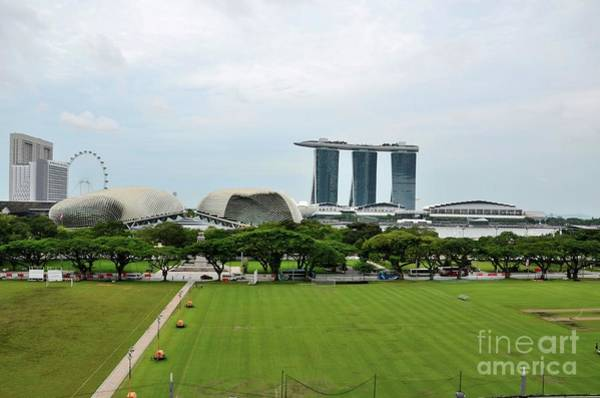 Photograph - Skyline With Marina Bay Sands Esplanade Flyer And Padang Singapore  by Imran Ahmed