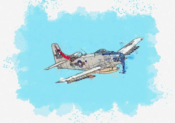 Wall Art - Painting - Skyraider Approaching Watercolor By Ahmet Asar by Celestial Images