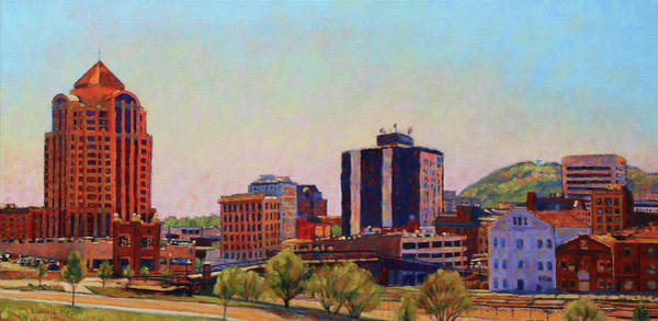 Wall Art - Painting - Skyshine - Roanoke Virginia Skyline by Bonnie Mason