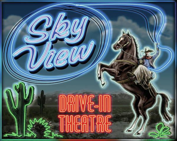 Wall Art - Digital Art - Skyview Drive In II by Yellow Caf�
