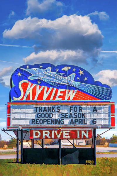 Digital Art - Skyview Drive-in Theater Neon Sign by Robert FERD Frank