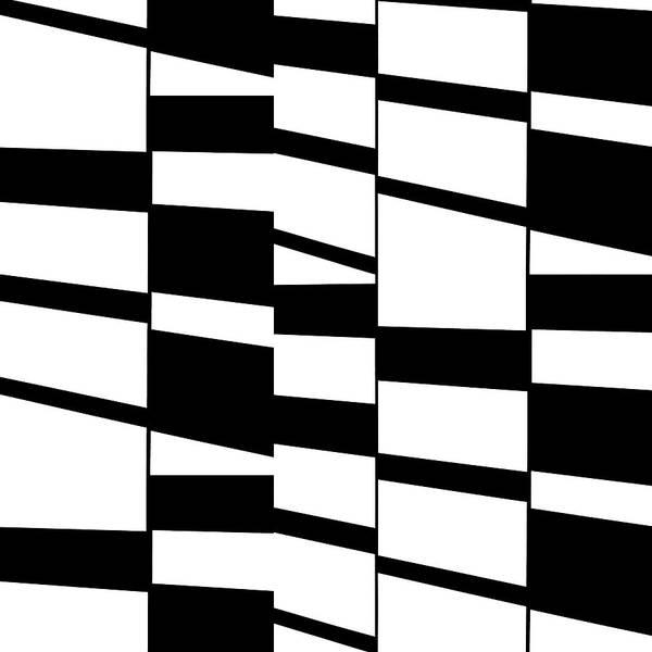 Digital Art - Slanting Rectangles - Black And White Graphic Art by Menega Sabidussi