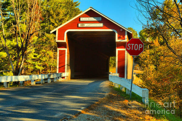 Photograph - Slate Covered Bridge New Hampshire by Adam Jewell