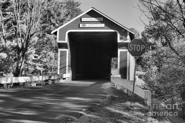 Photograph - Slate Covered Bridge New Hampshire Black And White by Adam Jewell