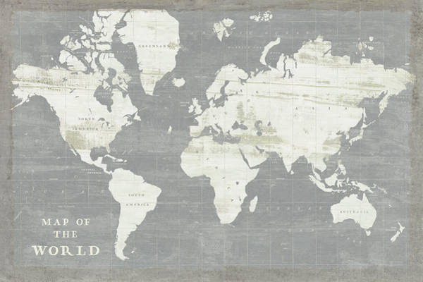 Slate Painting - Slate World Map by Sue Schlabach