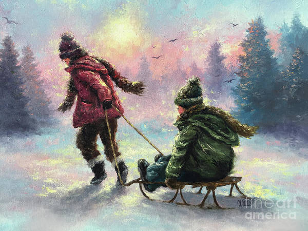 Wall Art - Painting - Sledding Big Sister Little Brother by Vickie Wade