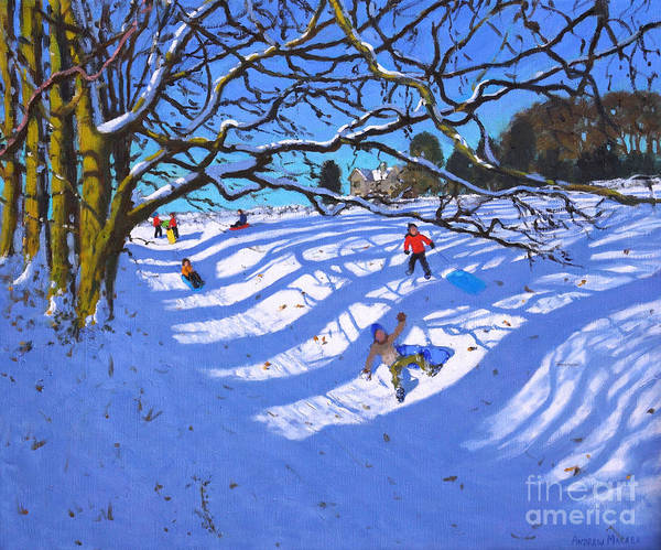Wall Art - Painting - Sledging Down The Gully, Dam Lane, Ashbourne by Andrew Macara