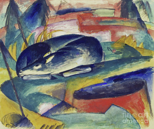 Wall Art - Painting - Sleeping Deer by Franz Marc