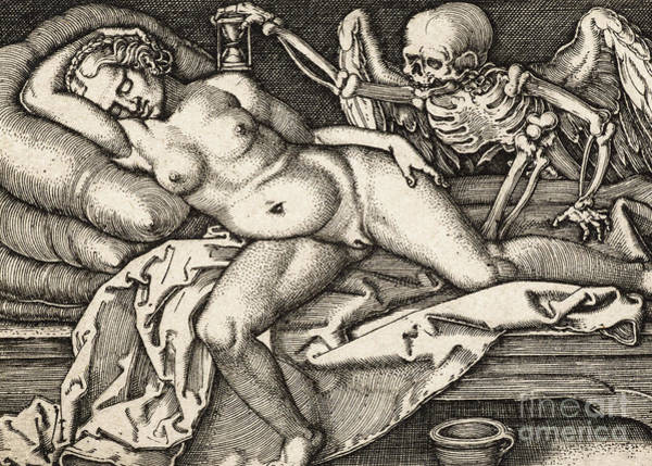 Sand Drawing - Sleeping Girl And Death, 1548 by Hans Sebald Beham