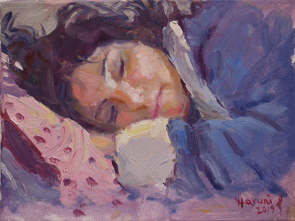 Wall Art - Painting - Sleeping Lady by Ylli Haruni