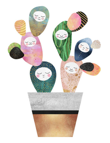 Plant Digital Art - Sleepy Cactus by Elisabeth Fredriksson