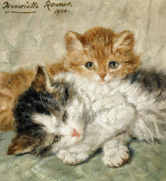 Kitten Play Wall Art - Painting - Sleepy Kittens, 19th Century by Henriette Ronner-Knip