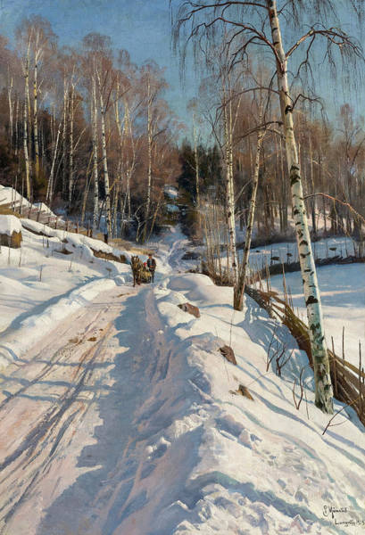 Wall Art - Painting - Sleigh Ride On A Sunny Winter Day, 1919 by Peder Mork Monsted