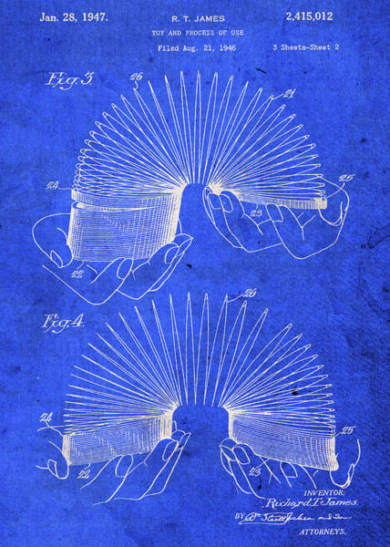 Patent Mixed Media - Slinky Toy Patent Blueprint by Design Turnpike