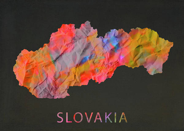Wall Art - Mixed Media - Slovakia Tie Dye Country Map by Design Turnpike