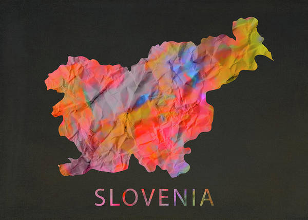 Wall Art - Mixed Media - Slovenia Tie Dye Country Map by Design Turnpike