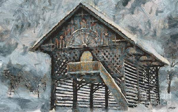 Wall Art - Painting - Slovenian Hayrack In Winter by Dragica Micki Fortuna