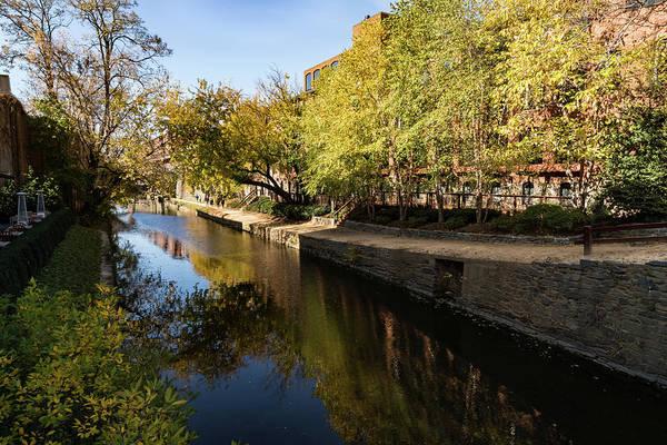 Photograph - Slow Walk On The Towpath - Fine Fall Day At Chesapeake And Ohio Canal Georgetown Washington by Georgia Mizuleva