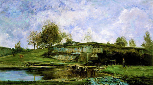 Wall Art - Painting - Sluice In The Optevoz Valley - Digital Remastered Edition by Charles-Francois Daubigny