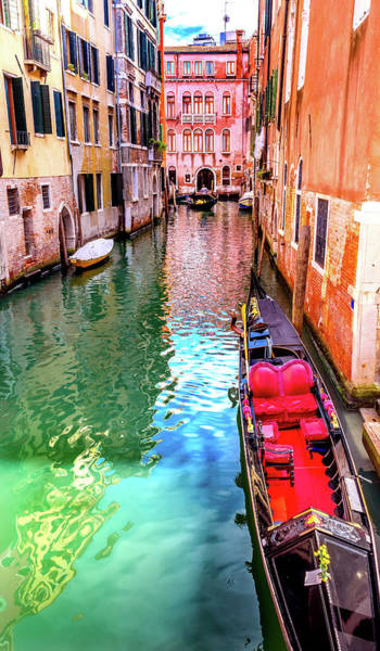 Balcony Photograph - Small Canal Bridge, Red Fancy Gondola by William Perry