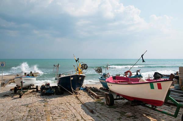 Sicily Photograph - Small Fishing Boats At Seaside Jetty by Stuart Mccall