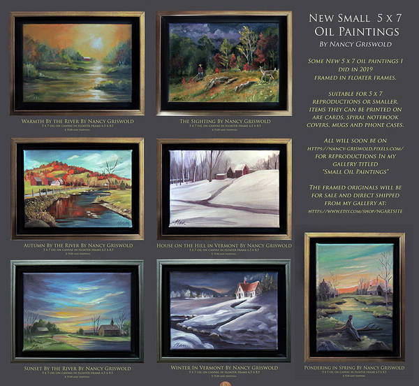 Painting - Small Oil Paintings 5 X 7 Reproductions And Originals For Sale by Nancy Griswold