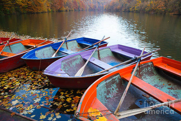 Alps Wall Art - Photograph - Small Pier With Boats On Lake. Colorful by Coolr