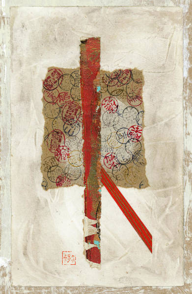 Wall Art - Mixed Media - Small Red And Brown Collage On Plaster by Carol Leigh
