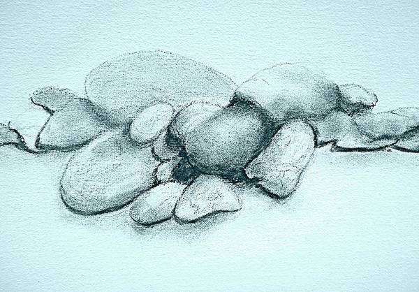 Drawing - Small Stones - Cool by VIVA Anderson