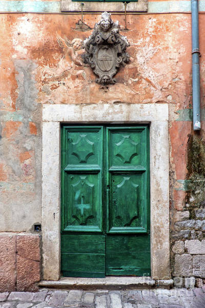 Budva Photograph - Small Streets With Green Door In Kotor City, Montenegro by Frank Bach