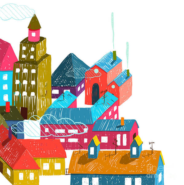 Wall Art - Digital Art - Small Town Or City With Houses Roofs by Popmarleo