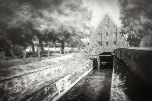 Wall Art - Photograph - Small Water Mill Gdansk Poland Black And White by Carol Japp