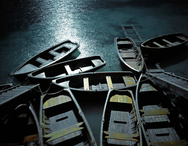 Rowboat Photograph - Small Wooden Boats Moored To Steps In by George Kavanagh