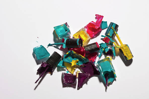 Messier Object Photograph - Smashed Bottles Of Nail Varnish by Larry Washburn