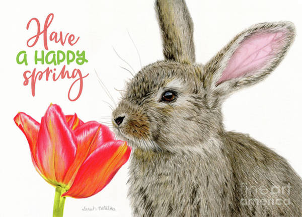 Colored Pencil Drawings Painting - Smells Like Spring- Happy Spring Cards by Sarah Batalka