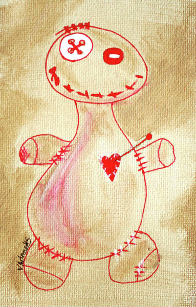 Voodoo Doll Painting - Smiley Face by Vonda Adomatis