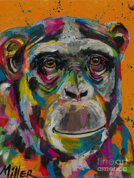 Wall Art - Painting - Smiling Chimp by Tracy Miller