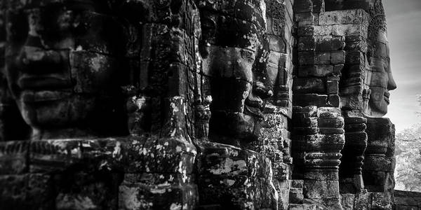 Wall Art - Photograph - Smiling Faces Carved On Stones, Prasat by Panoramic Images