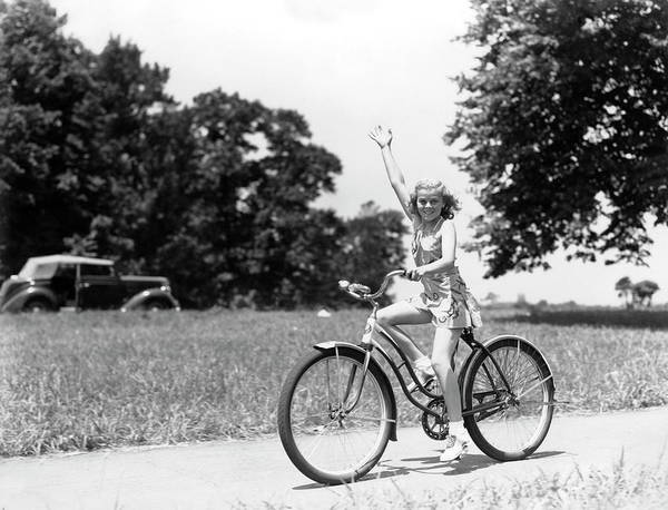 Bicycle Photograph - Smiling Girl Wearing A Jumper Short Set by H. Armstrong Roberts