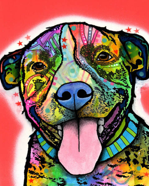 Wall Art - Painting - Smiling Pit Bull by Dean Russo Art