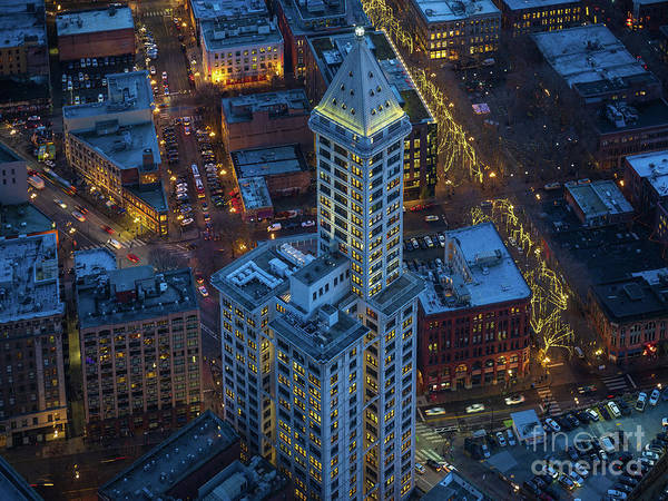 Linked Photograph - Smith Tower Blue by Mike Reid