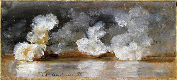 Wall Art - Painting - Smoke From Cannon Shots - Digital Remastered Edition by Johan Christian Dahl