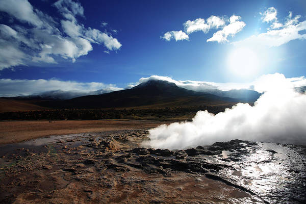 Geothermal Photograph - Smoke Rising From The Geyser Del Tatio by Luso